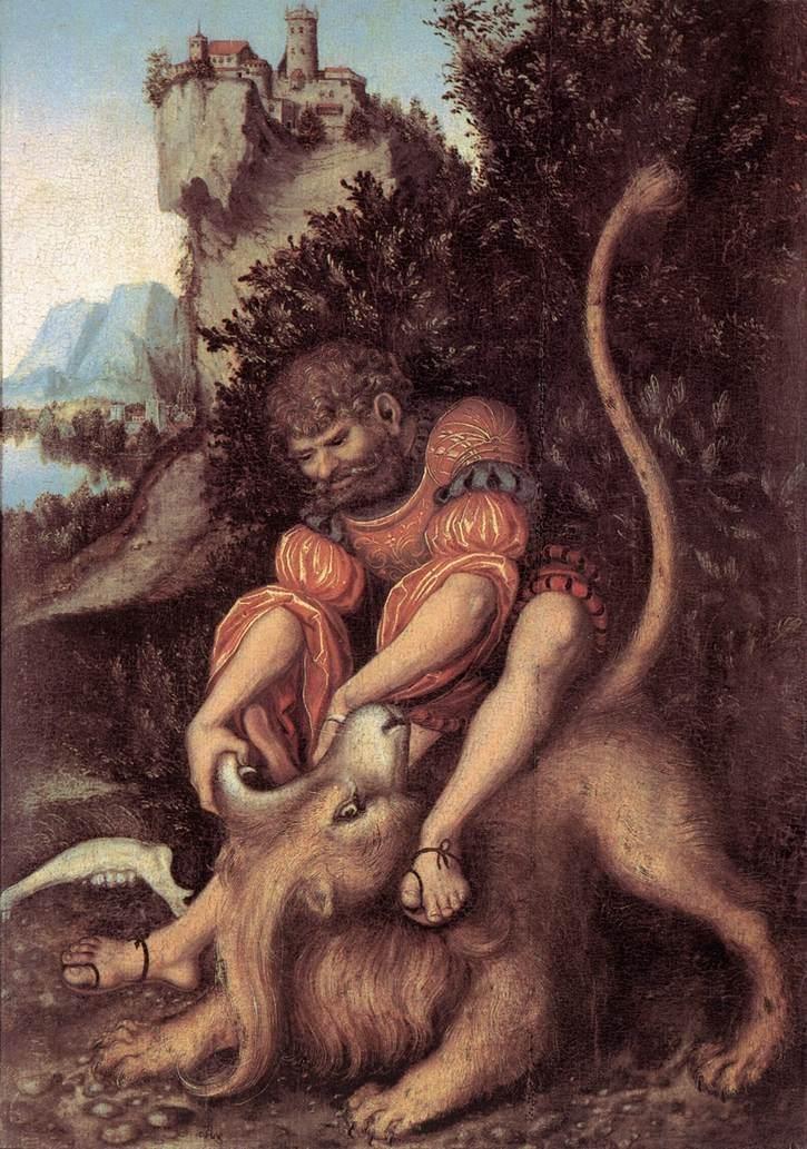 Lucas Cranach d. Ä. - Samson's Fight with the Lion - WGA05717