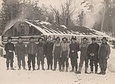 Canadian loggers and their cookhouse, 1917.