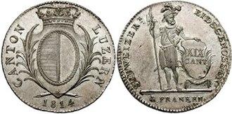 Luzern frank - 4 Franken coin issued in 1814