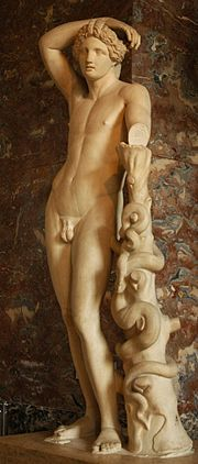 In Roman religion the worship of the Greek god Apollo (early Imperial Roman copy of a fourth century Greek original, Louvre Museum) was combined with the cult of Sol Invictus. The worship of Sol as special protector of the emperors and of the empire remained the chief imperial religion until it was replaced by Christianity.