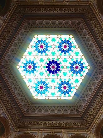 Vijećnica - Interior view of stained-glass ceiling, after restoration