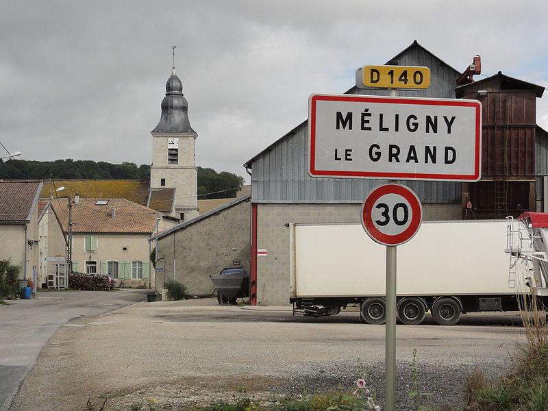 Méligny-le-Grand (Meuse) city limit sign