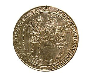 """Croatia in union with Hungary - Coin of Louis II of Hungary with inscription on Latin: """"Louis by the grace of God King of Hungary, Dalmatia, Croatia"""""""