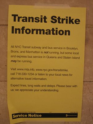2005 New York City transit strike - Notice posted in Grand Central Terminal by the MTA.