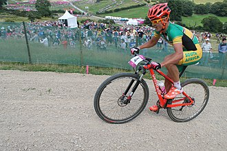 South Africa at the 2012 Summer Olympics - Image: MTB cycling 2012 Olympics M cross country RSA Burry Stander