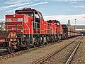 MaK DE 6400 - DB Schenker 6429 en 6431 met koppelwagens - Ertstrein - EMO Missouriweg - Port of Rotterdam (20333349479).jpg