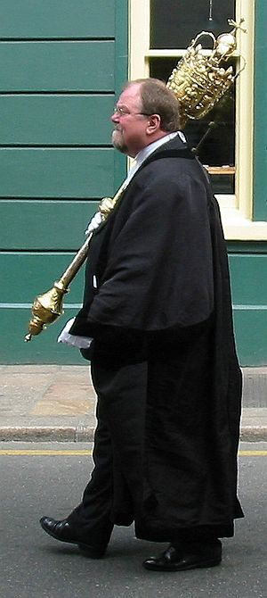 Mace-bearer - One of the functions of the Viscount in Jersey is to act as mace-bearer