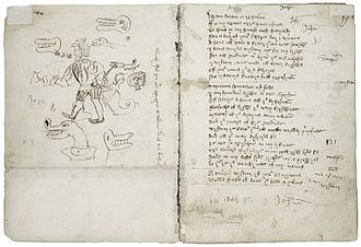 Wisdom (play) - A drawing and text from the Macro Manuscript version of Wisdom