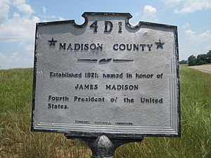 Madison County, Tennessee - Image: Madison County TN county line marker
