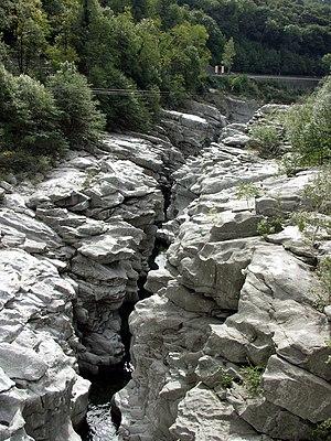 Tegna, Switzerland - Ponte Brolla gorge on the Maggia river, near Tegna