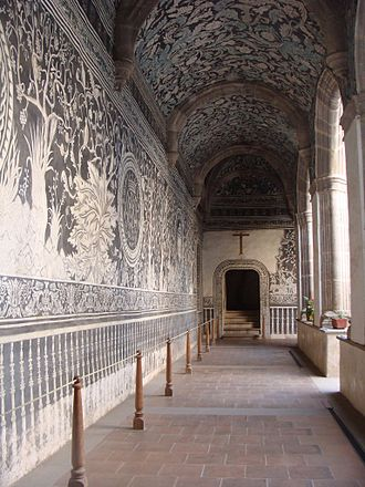 Indochristian art - Murals at the mission church of San Salvador, Malinalco, Mexico use native flora and fauna and indigenous concepts of the afterlife to depict the Christian garden of paradise.
