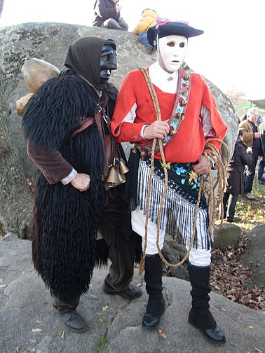 A Mamuthone and an Issohadore, traditional carnival costumes of Mamoiada - Sardinia