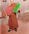 Man holding Salar Quran in Kehtsikung Qinghai brought in 1371 from Samarkand-Colored.png