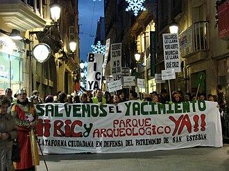Al-Andalusian palatial complex and neighborhood of San Esteban - Manifestation of December 19, 2009.