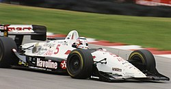 Racing driver Nigel Mansell driving in the 1993 CART IndyCar World Series