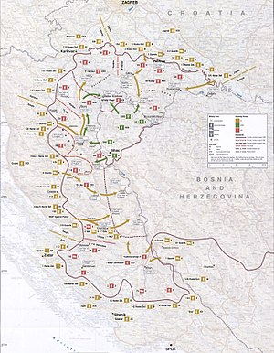 Operation Storm - Image: Map 49 Croatia Operation Oluja, 4 8 August 1995