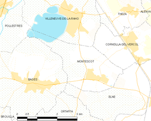 Montescot - Map of Montescot and its surrounding communes
