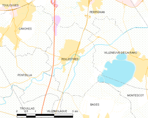 Pollestres - Map of Pollestres and its surrounding communes