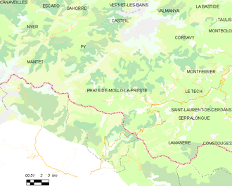 Prats-de-Mollo-la-Preste - Map of Prats-de-Mollo-la-Preste and its surrounding communes