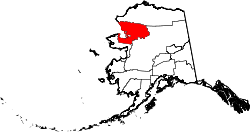map of Alaska highlighting Northwest Arctic Borough