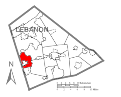 Map of Lebanon County, Pennsylvania highlighting North Londonderry Township