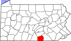 map of Pennsylvania highlighting Adams County