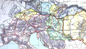Turcilingi - Thomas Hodgkin's map of barbarian peoples during the time of Augustulus, from his Italy and Her Invaders. The location of the Turcilingi is only a guess.