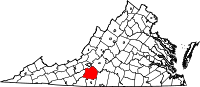 Map of Virginia highlighting Franklin County
