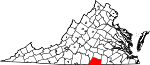 State map highlighting Mecklenburg County