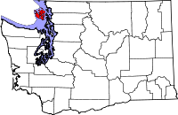 Map of Washington highlighting San Juan County