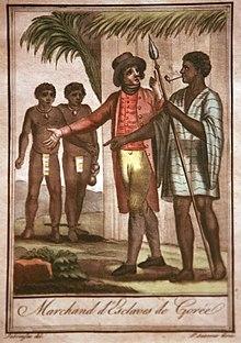 gravure représentant un homme blanc vêtu à l'occidental, discutant avec un homme noir fumant la pipe; en arrière-plan, deux hommes noirs vêtus d'un cache-sexe
