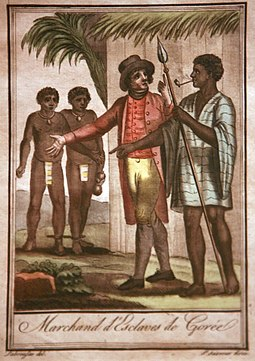 French slave traders in Goree, 18th century Marchands d'esclaves de Goree-Jacques Grasset de Saint-Sauveur mg 8526.jpg
