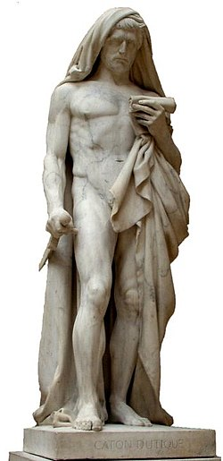 A statue of Cato the Younger. The Louvre Museum. He is about to kill himself while reading the Phaedo, a dialogue of Plato which details the death of Socrates. It was started by Jean-Baptiste Roman (Paris, 1792 - 1835) using white Carrara marble. It was finished by François Rude (Dijon, 1784 - Paris, 1855).
