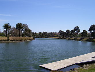 Maribyrnong River - The river as it flows through Aberfeldie.