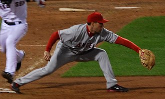 Mark Teixeira - Teixeira playing for the Angels in 2008 American League Division Series Game 4 on October 6.