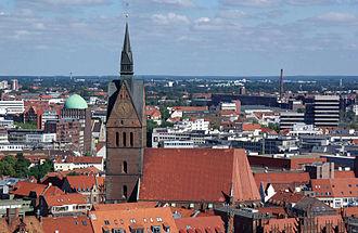 Marktkirche, Hanover - Image: Marktkirche Hannover vom Rathaus