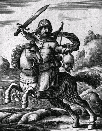 Martino Martini - A European artist's impression of a Manchu warrior devastating China, from the title page of Martini's  Regni Sinensis a Tartaris devastati enarratio. Modern historians (e.g. Pamela Kyle Crossley in The Manchu, or D.E. Mungello) note the discrepancy between the picture and the content of the book; e.g., the severed head held by the warrior has a queue, which is a Manchu hairstyle (also imposed by Manchu on the population of conquered China), and is not likely to be had by a Ming loyalist