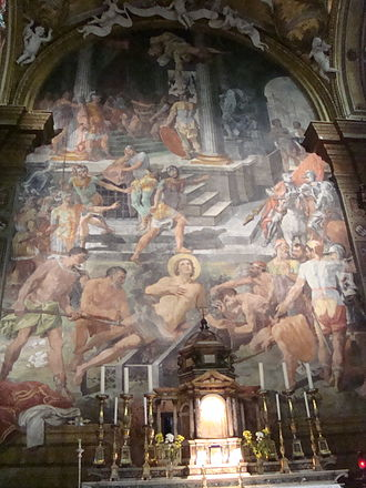 San Lorenzo in Panisperna - Martyrdom of St Lawrence by Pasquale Cati.