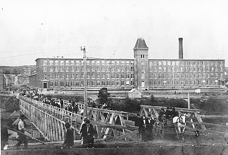Fredericton - View of the Marysville cotton mill in 1885, two years after it first opened.