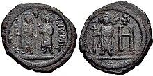 Морис Follis с Константинией и Феодосием, Херсон mint.jpg