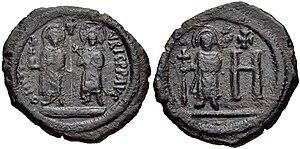 Constantina (empress) - Rare copper follis from Cherson depicting Maurice, Constantina and their eldest son, Theodosius