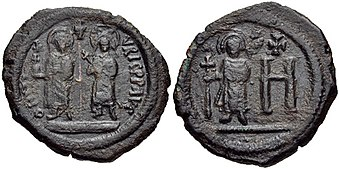 Maurice follis with Constantina and Theodosius, Cherson mint.jpg