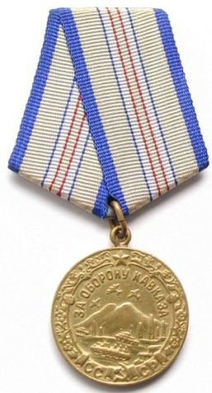 "Battle of the Caucasus - Some 870,000 Soviet personnel were awarded this Medal ""For the Defence of the Caucasus"" from 1 May 1944."