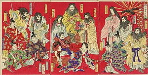State Shinto - This 1878 engraving by Toyohara Chikanobu (1838–1912) visually presents the central tenet of State Shinto (1871–1946). This Shinto variant asserted and promoted belief in the divinity of the Emperor, which arose from a genealogical family tree extending back to the first emperor and to the most important deities of Japanese mythology.