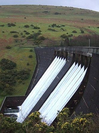 Dartmoor reservoirs - Meldon Dam - overflow