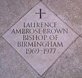 Memorial to Laurence Ambrose Brown in Birmingham Cathedral.jpg