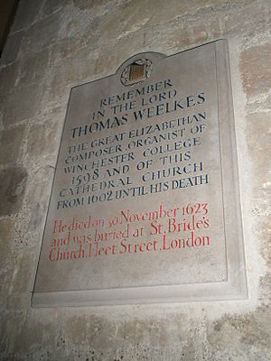 Thomas Weelkes - Weelkes' memorial stone in Chichester Cathedral