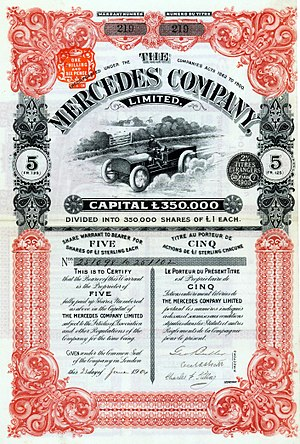 "Mercedes (marque) - Share of the Mercedes Company Limited, issued 23 June 1904; this British sales company was the first company which was allowed to sell Mercedes cars in England and in other countries. It was also allowed to have ""Mercedes"" in its name."
