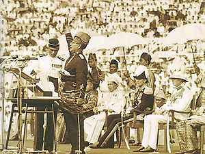 Tunku proclaiming Malayan independence.