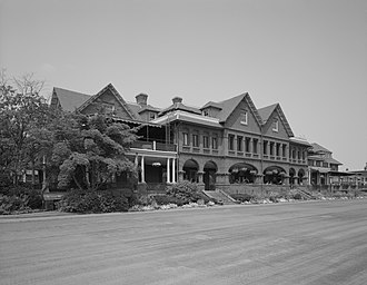 "Merion Cricket Club - The ""Main House,"" of brick and stone, replaced a wooden clubhouse that was destroyed by fire in September 1896."